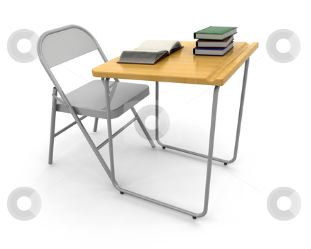 Desk and chair stock photo, 3D render of a desk and chair with a stack of books by Kirsty Pargeter