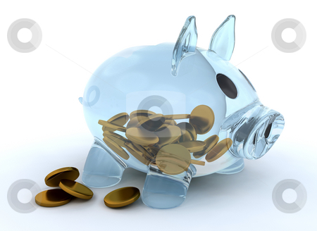 Glass piggy bank stock photo, Glass piggy bank with coins by Kirsty Pargeter