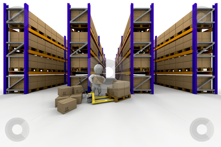 Racking stock photo, Person stacking boxes in warehouse full of racking by Kirsty Pargeter