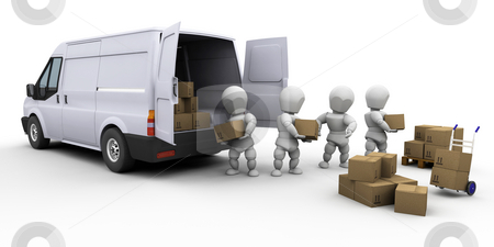 Teamwork stock photo, 3D render of a team of people unloading a van by Kirsty Pargeter