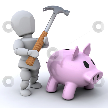 Smash the piggy bankq stock photo, Someone about to smash open their piggy bank by Kirsty Pargeter