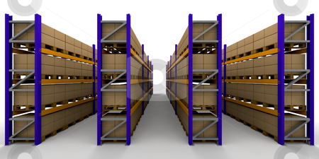 Racking stock photo, 3D render of racking full of boxes by Kirsty Pargeter