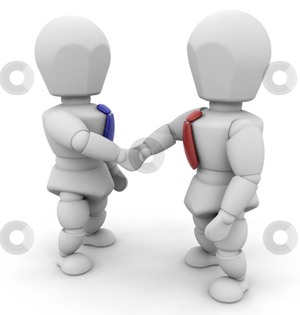 Businessmen shaking hands stock photo, 3D render of two businessmen shaking hands by Kirsty Pargeter