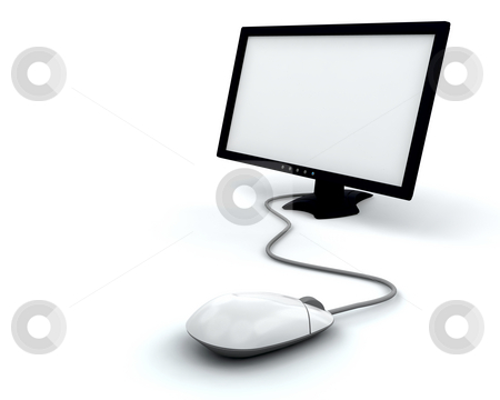 Computer screen stock photo, Computer screen with mouse by Kirsty Pargeter