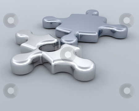 Conncections stock photo, 3D render of jigsaw pieces connecting by Kirsty Pargeter