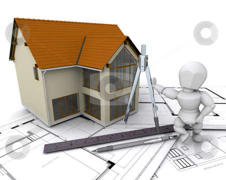 Architect stock photo, Someone on plans next to a house under construction by Kirsty Pargeter