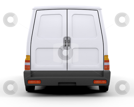 White van stock photo, 3D render of the rear of a white van by Kirsty Pargeter