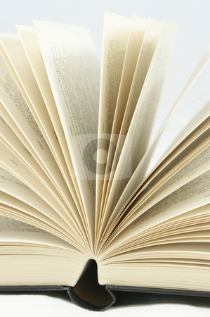 Book pages stock photo, Close up shot of pages of a book turning by Kirsty Pargeter