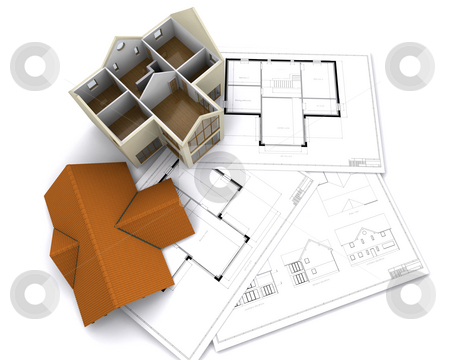 Contemporary house stock photo, Contemporary house on floorplans by Kirsty Pargeter
