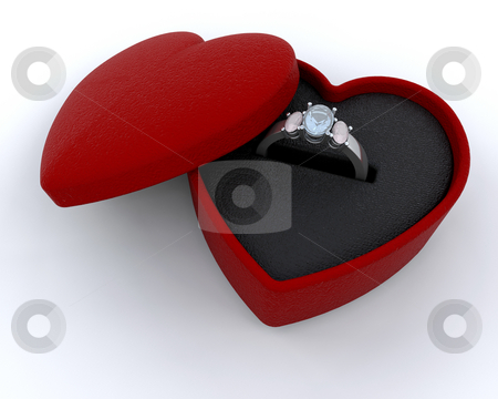 Silver engagement ring stock photo, Silver engagment ring in a heart shaped box by Kirsty Pargeter