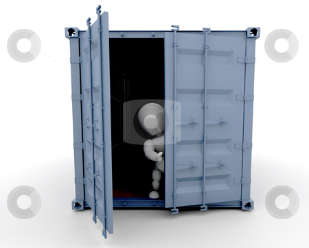 Person inside freight container stock photo, 3D render of someone inside a freight container by Kirsty Pargeter