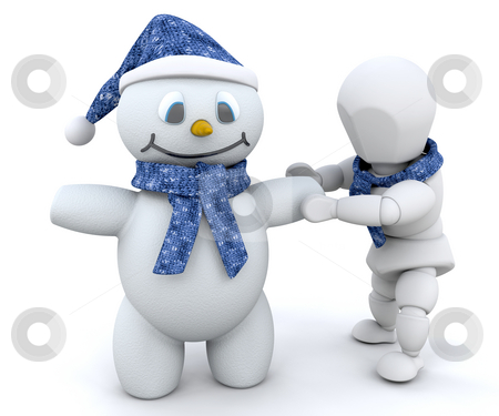 Building a snowman stock photo, Someone building a snowman by Kirsty Pargeter