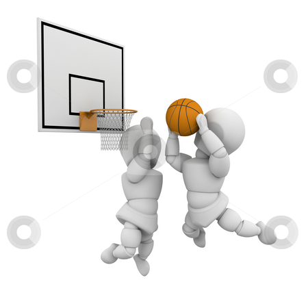 Basketball players stock photo, 3D render of basketball players by Kirsty Pargeter