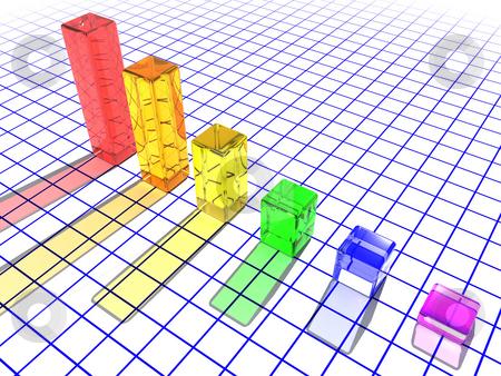 3D glass bar chart stock photo, 3D render of a glass bar chart by Kirsty Pargeter