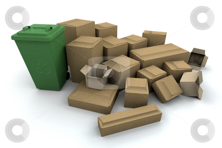 Recycling stock photo, 3D render of things to recycle by Kirsty Pargeter