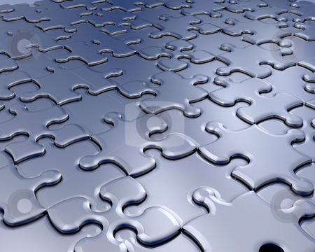 Jigsaw pieces stock photo, Background of connecting jigsaw pieces by Kirsty Pargeter