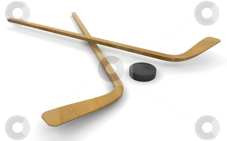 Ice hockey sticks and puck stock photo, 3D render of ice hockey sticks and puck by Kirsty Pargeter