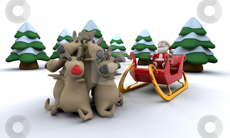 Santa and his reindeer stock photo, Santa with his trusty reindeer by Kirsty Pargeter