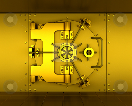 Bank vault stock photo, Gold bank vault by Kirsty Pargeter