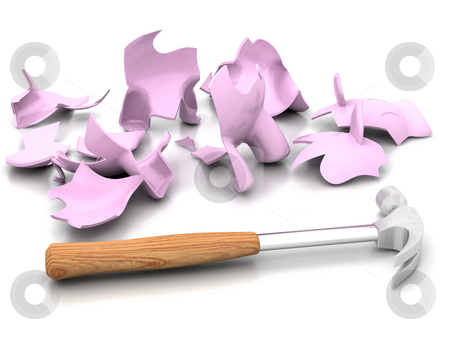 Smashed piggy bank stock photo, Smashed piggy bank with a hammer by Kirsty Pargeter