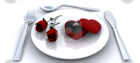 Proposal stock photo, Place setting with red roses and engagment ring by Kirsty Pargeter