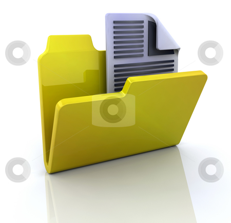 Text document in folder icon stock photo, 3D icon for new text document in folder by Kirsty Pargeter