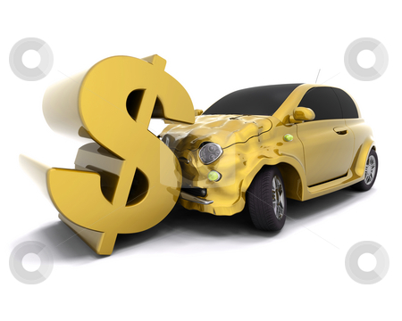 Crashing dollar stock photo, Car crashing into a dollar sign by Kirsty Pargeter