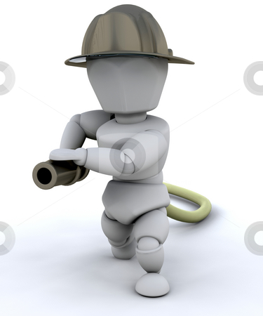 Fireman stock photo, 3D render of a fireman by Kirsty Pargeter