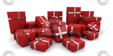 Gift boxes stock photo, 3D render of a stack of gift boxes by Kirsty Pargeter