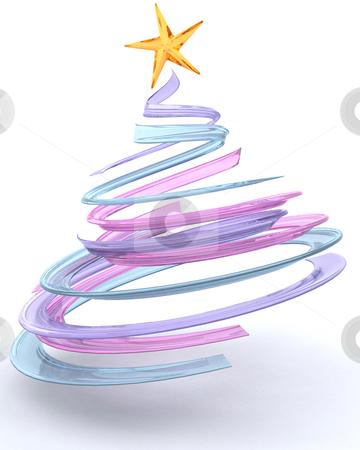 Glass spiral Christmas tree stock photo, 3D render of a glass spiral Christmas tree by Kirsty Pargeter