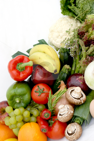 Fruit and vegetables stock photo, Display of various fruit and vegetables by Kirsty Pargeter