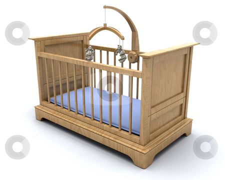 Baby's cot stock photo, Cot for a baby boy with hanging teddy mobile by Kirsty Pargeter