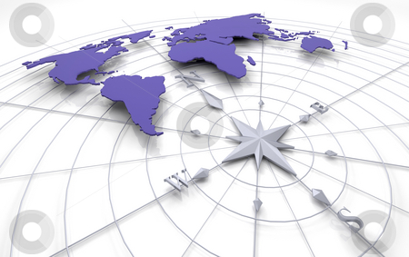 Compass on map stock photo, 3d render of a compass on a map of the world by Kirsty Pargeter