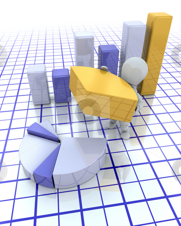 Building profits stock photo, 3D render of someone building graphs by Kirsty Pargeter