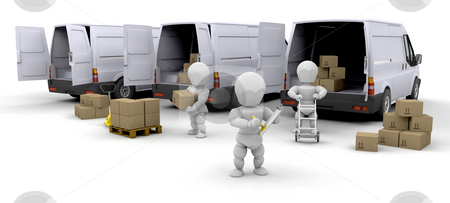Delivery fleet stock photo, Workers loading boxes into delivery vans by Kirsty Pargeter