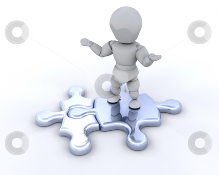 Connections stock photo, 3D render of someone stood on connected jigsaw pieces by Kirsty Pargeter
