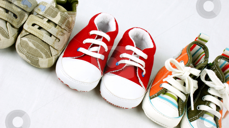 Baby shoes stock photo, Line up of baby shoes by Kirsty Pargeter