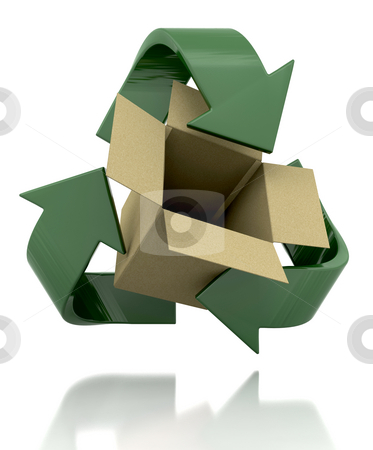 Recycle symbol stock photo, 3d render of a recycle symbol and card box by Kirsty Pargeter