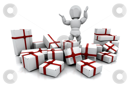Christmas presents stock photo, Someone with a stack of Christmas presents by Kirsty Pargeter