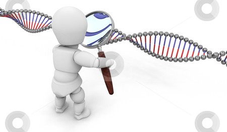 Genetic research stock photo, Someone looking at DNA through a magnifying glass by Kirsty Pargeter