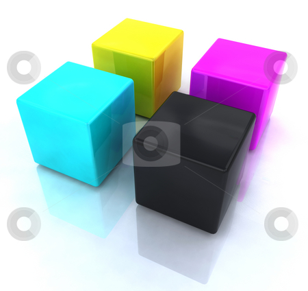 CMYK blocks stock photo, 3D render of CMYK blocks by Kirsty Pargeter