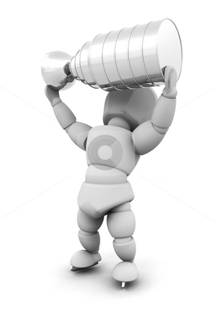 Ice hockey player with trophy stock photo, 3D render of an ice hockey player with a trophy by Kirsty Pargeter