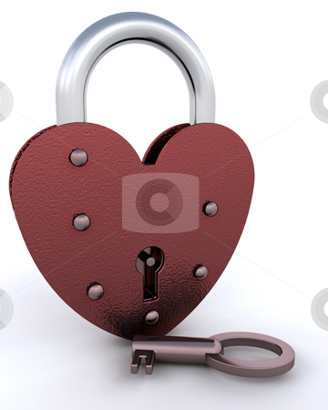 Heart shaped padlock stock photo, Heart shaped padlock with key by Kirsty Pargeter