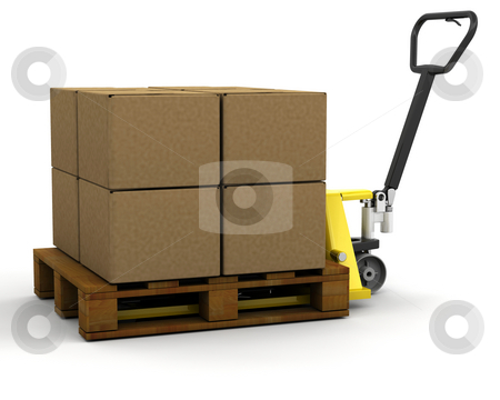 Pallet truck with boxes stock photo, 3D render of a pallet truck stacked with boxes by Kirsty Pargeter