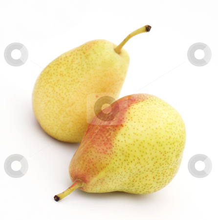 Pears stock photo, Two pears on a white background by Kirsty Pargeter