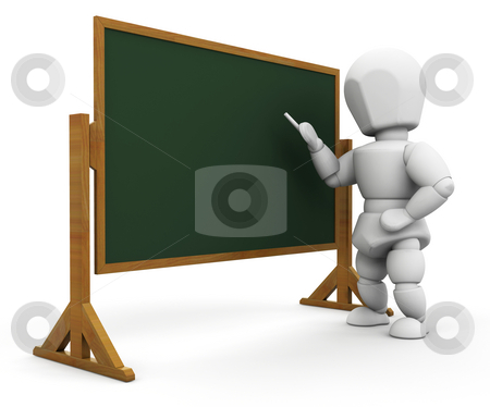 Teacher stock photo, 3D render of a teacher at a blackboard by Kirsty Pargeter