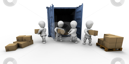 Teamwork stock photo, 3D render of a team of people unloading boxes by Kirsty Pargeter