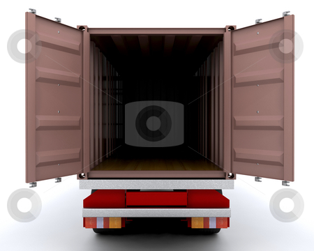 Freight container stock photo, 3D render of an open freight container by Kirsty Pargeter