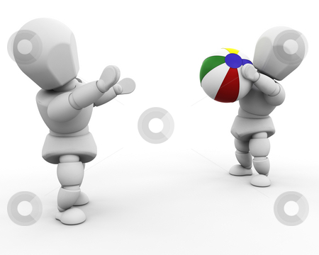 Playing with beach ball stock photo, 3D render of people playing with a beach ball by Kirsty Pargeter