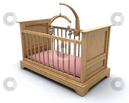 Baby's cot stock photo, Cot for a baby girl with hanging teddy mobile by Kirsty Pargeter